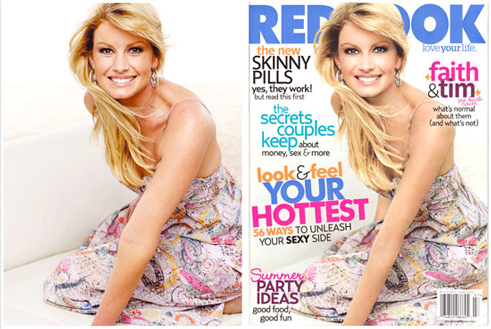 Faith Hill on the cover of Redbook magazine, July 2007, before and after digital retouching